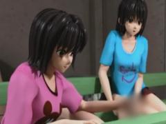 同級生を手コキや足コキ虐めする少女の3Dエロアニメ