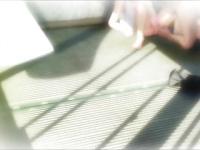 3Dエロアニメ 色っぽい黒髪美巨乳ポニテ美女がオナニーしながら顔にペニスをくっつけられちゃう三次元動画