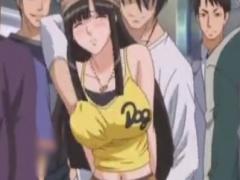 ミニスカニーソ娘が電車集団痴漢されるエロアニメ