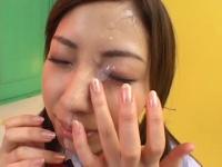 JK制服コスの美雪ちゃんがエロカワフェラ。そして綺麗な顔に顔射。