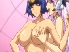 エロアニメ 巨乳のエロいお姉さん同士がおっぱいもみ合って百合エッチ