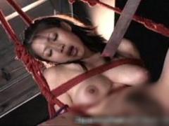 奴隷M女を縛り吊り下げて2人まとめて鞭と言葉責めで調教する女王様