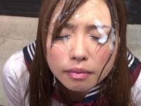 可愛い顔した痴女JKに顔射しまくってザーメンまみれにしてみた結果www