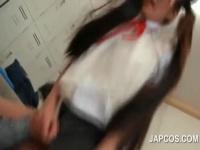 けいおん! 中野梓 ネコ耳ツインテールの制服美少女に縞パンずらして挿入!