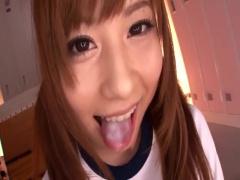 菊地亜美似の美少女ギャルがブルマコスプレで男たちをフェラ抜きしていく...