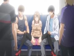 エロアニメ 肩出しニットの巨乳美少女が電車で痴漢されておマ○コ濡らしちゃう