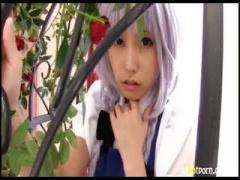 有村千佳ちゃんのコスプレ姿に感動! ! ! えっちな美脚キスで勃起全開のM男動画
