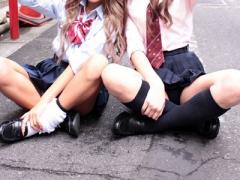 円光 美少女で黒ギャルと白ギャルの可愛いJKが援助交際 女子校生が種付け...