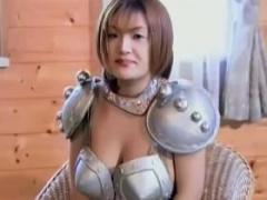 無修正 戦士コスの爆乳美少女がエッチな下着に着替えてオナニーからWフェラ