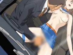 エロアニメ レースクイーンがカーセックスしてる! 堂々と運転席でハメまく...