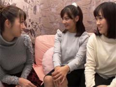 友達同士の女性2人組がナビ女優加藤つばきと初めてのレズ体験!