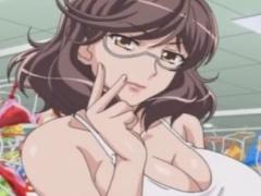 メガネ巨乳のお姉さんと3Pセックスのエロアニメ