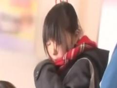 電車でバイブ&ペニバンレズ痴漢されるJKの動画