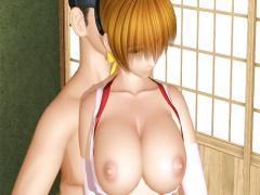 3Dエロアニメ 母乳ミルク出しながら手マンで感じまくりの美巨乳くのいち美...