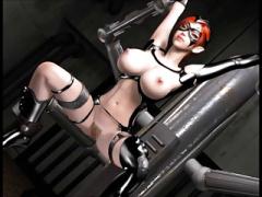 3Dエロアニメ 超爆乳美女マスクマンが手足を動けないようにされてアナル肛...