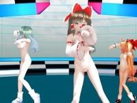 3Dエロアニメ 東方の博麗霊夢と東風谷早苗と伊吹萃香の紐ビキニエロダンス