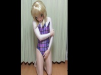 レオタードを着た2,5次元女子のオナニー