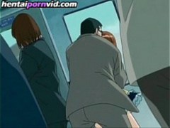 エロアニメ 電車内で巨乳を晒して痴漢に犯されてるお姉さんを発見!