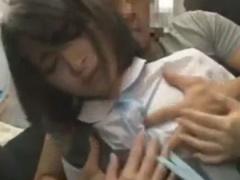 ドMな黒髪JKを満員電車でレイプ痴漢しちゃう動画