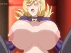 エロアニメ 爆乳の金髪お姉さんが男たちに激しくピストンされ中出しセックス