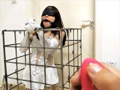 〝中華美女拷問〟捕まえた娘をオリにぶち込んでローター固定していじめちゃう