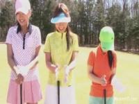 ゴルフ場で3人の女の子が罰ゲームで全裸になりフルスイング!