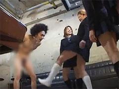 M男いじめ 不良女子校生がM男子を全裸にして金蹴りした上で無理矢理シコら...