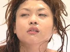 美人が台無し。顔、膣、アナルに射精されたザーメンを集めて最後にごっくん!