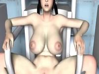 3Dエロアニメ 公衆トイレで掃除婦のアルバイトするJKに着衣パイズリ