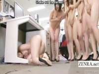 頭隠して尻隠さず! 全裸避難訓練で机の下にケツ丸出しで隠れる女の子