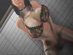 3Dエロアニメ ターゲット男性の玄関先でオナニー中の痴女!