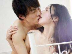 イケメン男優と黒髪美女のラブラブカップルの甘いセックス
