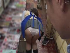 本屋バイトで美少女JKがパンチラ誘惑 我慢できず店内でめちゃくちゃセック...