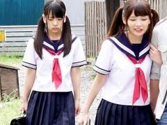 女子校生 激カワ美少女で可愛いJK 女子校生と3P乱交種付け中出しハメ撮り...