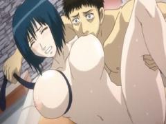エロアニメ おっぱいをギューっと紐で縛りながら乳を吸う荒業的絡み! しか...