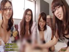 巨乳メガネ女教師達に囲まれてフェラと手コキで悶絶射精させられる快感