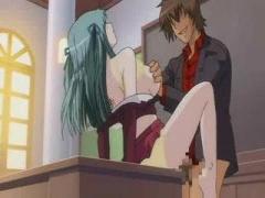 エロアニメ ビンタして放課後の教室の教壇の上で処女の教師をレイプ