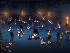 深夜の学園校庭で女子レイプ祭り開催 処女ワレメ貫通しまくり悲鳴と精子飛...