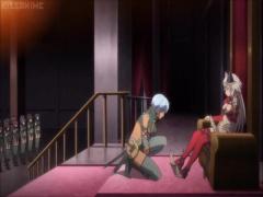 エロアニメ 壇上に呼ばれた蒼髪ショートカット美少女戦士の乳を鷲掴む王女...