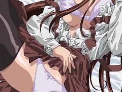 エロアニメ 清楚な巨乳美少女が後ろからおっぱい揉まれてレズプレイ!