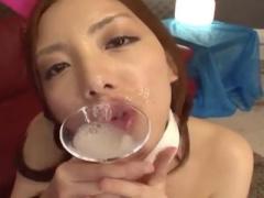 """ザーメン大好きバニーちゃん カクテルグラスにたっぷり貯めて""""ごっくん""""飲..."""