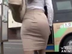 タイトスカートの淫乱OLがバスの乗客を挑発して痴漢させて車内でそのまま...