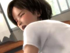 3Dエロアニメ 教室でバック挿入されて感じるショートカット超かわいい童顔...
