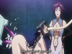 エロアニメ クールな黒髪美人が体を固定され、ドリルバイブの二穴同時責め...