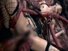 絡みつく触手、心を犯す粘液、膣内に中出しされる大量の精液でおマンコ崩壊!
