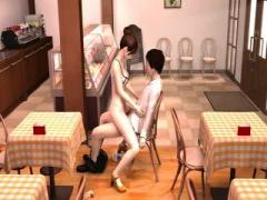 3Dエロアニメ 勤務中の美人カフェ店員を店内で脅迫して性的奉仕をさせてい...
