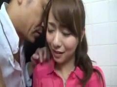 だめだめ ここはマズイって! 爆乳人妻をトイレに連れ込み撮影を説得! 立ち...