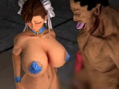 3Dエロアニメ 誰もが知ってる格ゲーヒロイン春○が爆乳晒してSEX奴隷にされ...