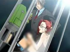 エロアニメ 電話BOXでアナルに指を突っ込まれ手コキで射精させられる