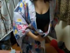 ライブチャット 巨乳の女の子が浴衣に生着替え